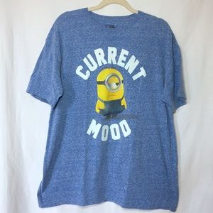 Despicable Me mens blue Current Mood minion Tshirt
